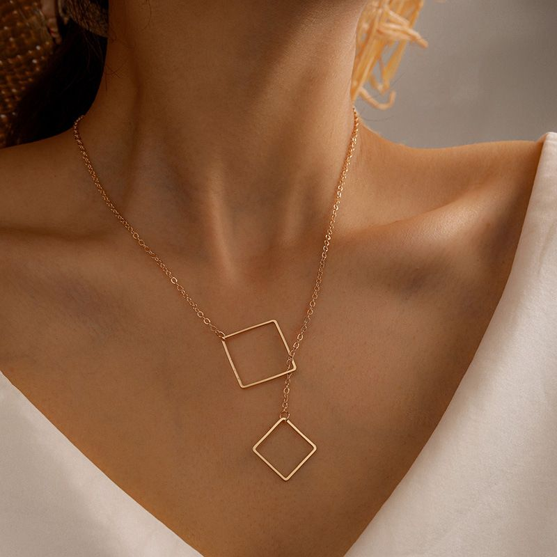 new simple alloy diamond buckle square pendant necklace wholesale NHGY257451