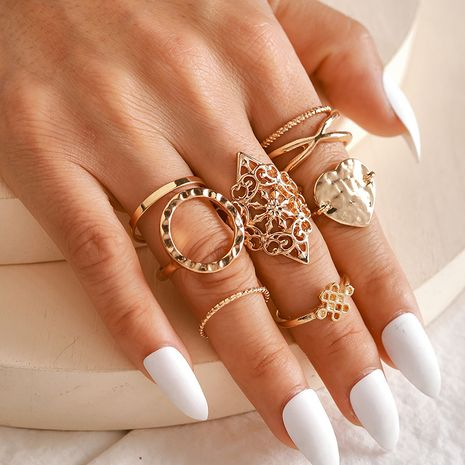 Hot selling fashion cross simple hollow love round 8-piece ring set wholesale NHGY257453's discount tags