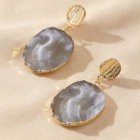 new long imitated agate piece natural stone exaggerated earrings wholesale NHGY257454's discount tags
