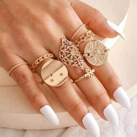 Hot selling fashion five-pointed star metal pattern ring sequin hollow Chinese knot ring 8-piece set wholesale NHGY257455's discount tags