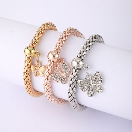 Fashion alloy elastic diamond pendant three-color butterfly bracelet 3 piece set NHGY257456's discount tags