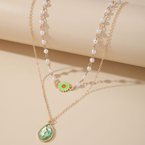 Korean sunflower drop diamond necklace simple double-layer pearl clavicle chain wholesale NHGY257461's discount tags