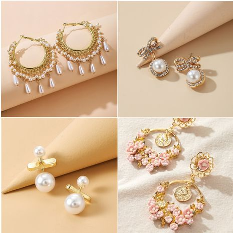flower retro pastoral style pearl earrings wholesale NHGY257462's discount tags