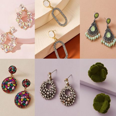 fashion exaggerated rectangular rhinestone tassel long round flower earrings NHGY257463's discount tags