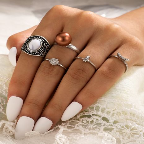 Hot selling retro turquoise ring diamond-studded pearl joint ring 5-piece set NHGY257476's discount tags