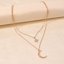 simple multilayer shiny diamond star moon pendant necklace chain wholesale NHMD257477