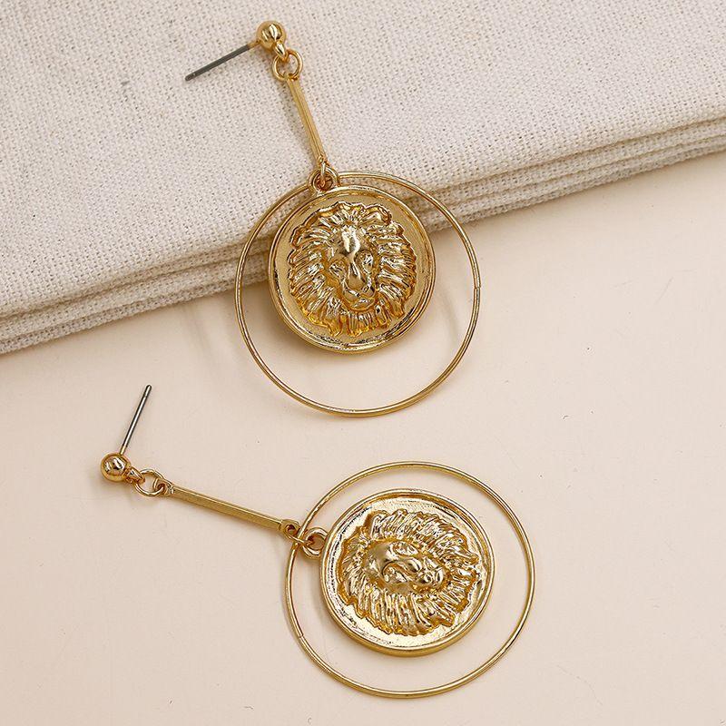 popular lion head new metal texture earrings wholesale NHGU257532