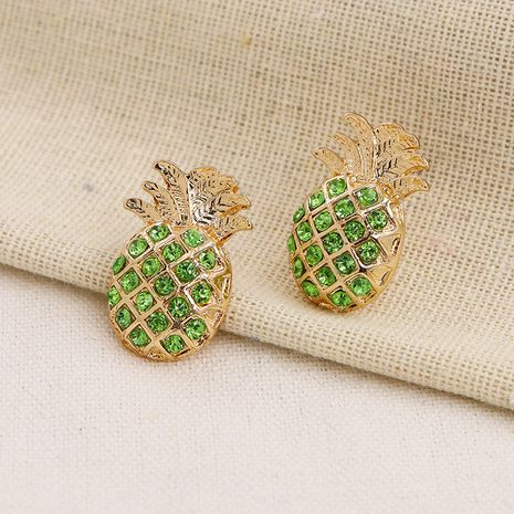 Fashion Metal Fruit Pineapple Diamond  Hot Selling Earrings  NHGU257548's discount tags