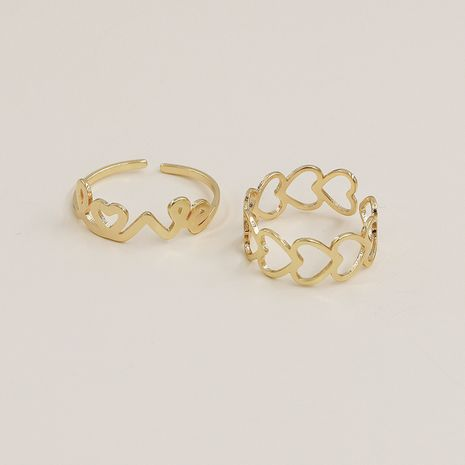 Hot selling fashion metal geometric letter open ring set NHGU257585's discount tags