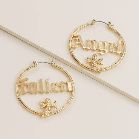 Hot selling fashion metal texture carved little angel letter earrings wholesale NHGU257594's discount tags
