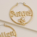 Hot selling fashion metal texture carved little angel letter earrings wholesale NHGU257594