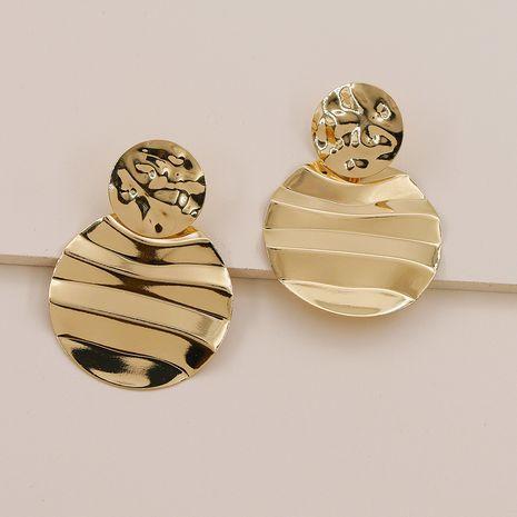 Pendientes geométricos vendedores calientes de la nueva textura del metal de la moda al por mayor NHGU257609's discount tags