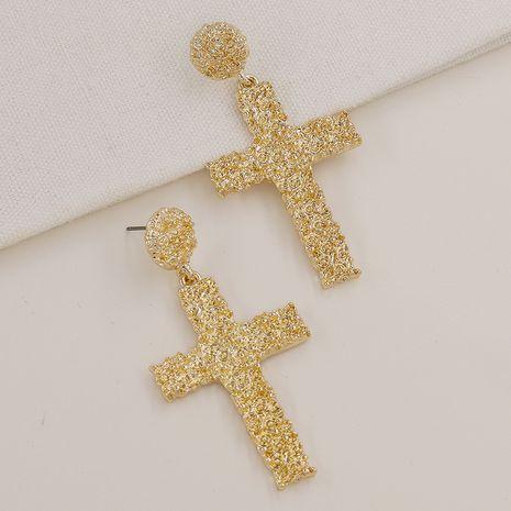 Pendientes vendedores calientes de la cruz de la textura del metal de la moda al por mayor NHGU257620's discount tags