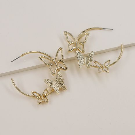 Hot selling new metal texture alloy butterfly earrings wholesale NHGU257622's discount tags