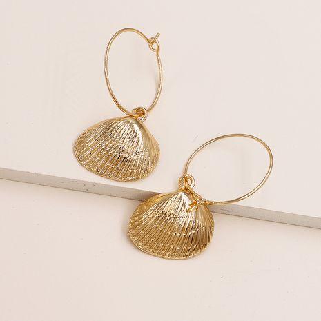 Los pendientes vendedores calientes de la cáscara de la aleación de los pendientes de la textura del metal de la moda venden al por mayor NHGU257623's discount tags