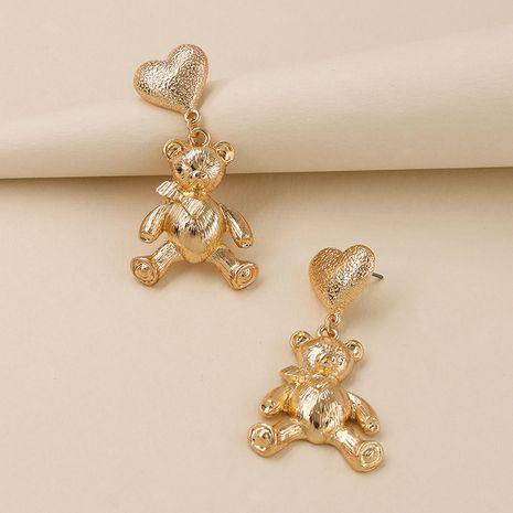 Venta caliente de los pendientes lindos del oso de la textura del metal de la moda al por mayor NHGU257625's discount tags