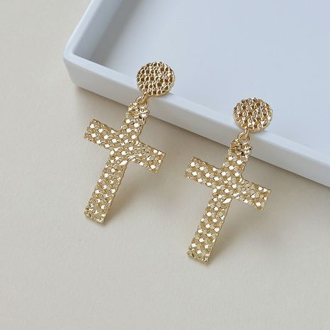Hot selling new metal texture cross earrings wholesale NHGU257654's discount tags