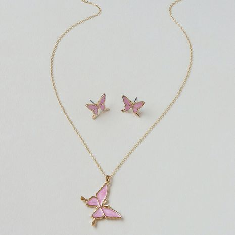 hot style butterfly earrings necklace set wholesale NHGU257659's discount tags