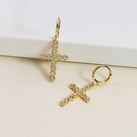 Pendientes vendedores calientes de la textura del metal de los pendientes del diamante de la cruz de la aleación de la moda al por mayor NHGU257669's discount tags
