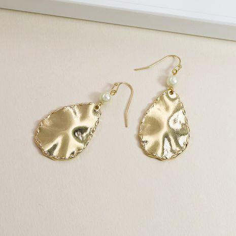 Venta caliente de los pendientes de la perla de la textura del metal de la moda al por mayor NHGU257670's discount tags