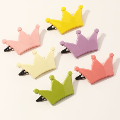 Korean new crown hairpin candy color  cute crown side clip set NHNU257687's discount tags