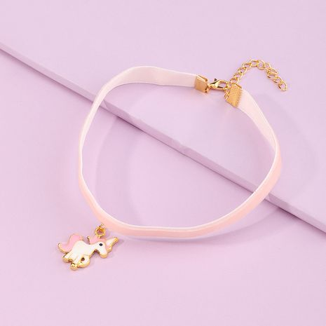 Hot selling fashion cute cartoon pink ribbon pony necklace wholesale NHNU257689's discount tags