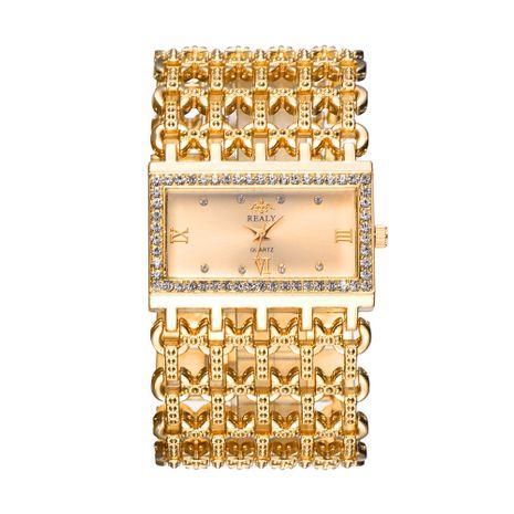 Moda temperamento rectangular banda de acero para mujer pulsera diamante correa ancha reloj de cuarzo NHSS257696's discount tags