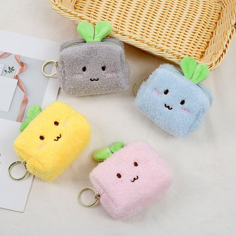Hot selling cute plush coin purse zipper cartoon storage mini wallet wholesale NHAE257702