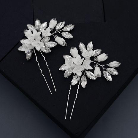 disc hair headdress bridal rhinestone U-shaped hairpin soft pottery flower clip set wholesale NHHS257715's discount tags