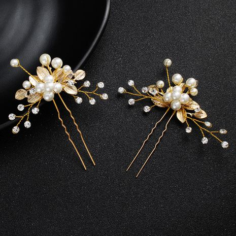 Korean bridal headdress pearl u-shaped hairpin alloy flower hair beads wholesale  NHHS257720's discount tags