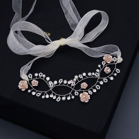 diadema con cuentas de flores hechas a mano de flores de boda NHHS257725's discount tags