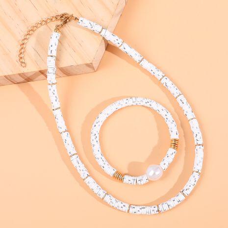 Ensemble de bracelet court collier en céramique blanche pour femmes NHLL257739's discount tags