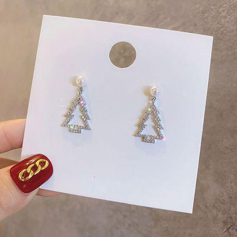 Koreanischer Weihnachtsbaum mikro-eingelegte einfache Quaste Ohrringe Großhandel NHPF257751's discount tags