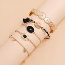 Fashion handmade beaded shell black resin gemstone bracelet printed open tassel bracelet 5 piece set NHPV257756