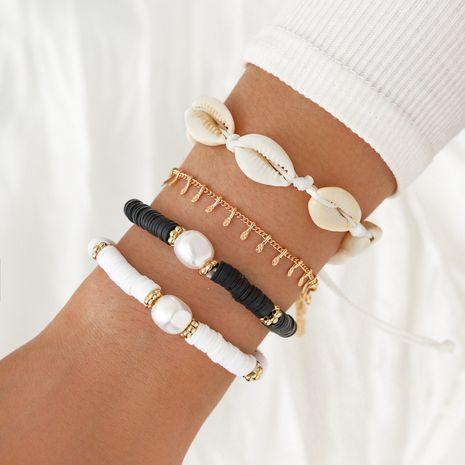 Pulsera de perlas en forma de imitación con cuentas hechas a mano pulsera trenzada de concha natural juego de 4 piezas NHPV257755's discount tags