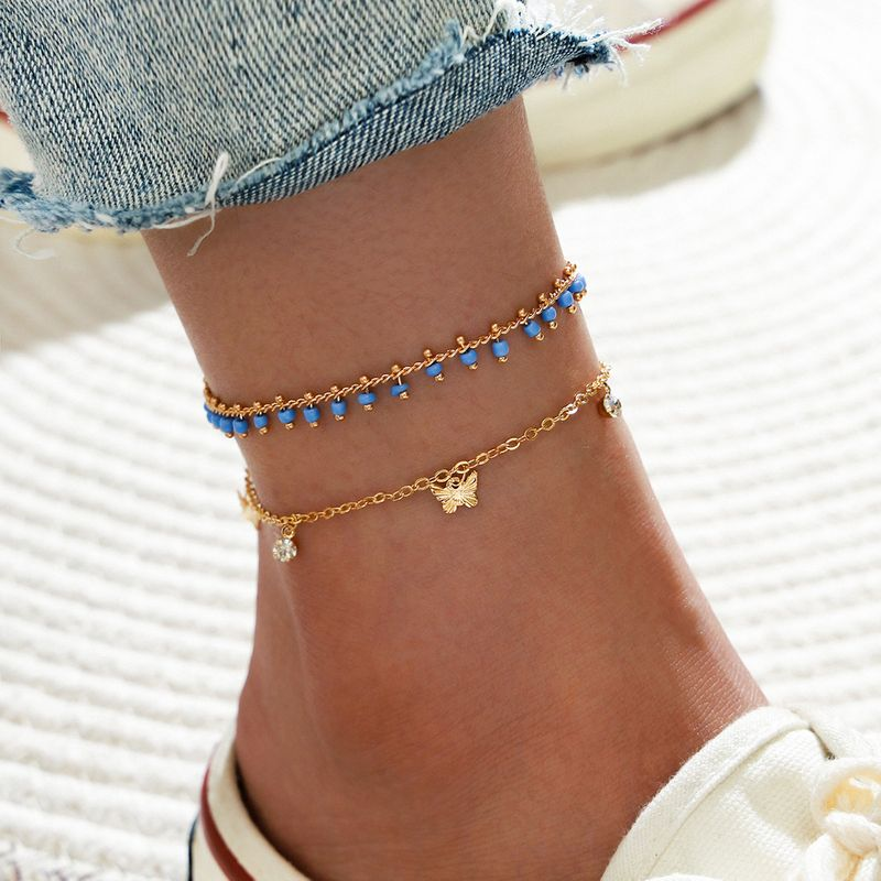 Fashion double layered beaded chain butterfly butterfly rhinestone tassel anklet 2-piece set NHPV257757