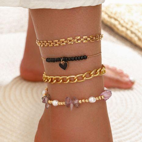 Chaîne de perles à la main à plusieurs couches de gravier naturel à la main chaîne de perles amour gland cheville 4 pièces ensemble NHPV257760's discount tags
