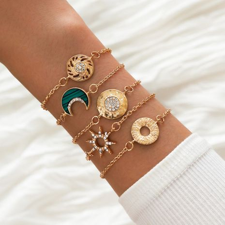 Fashion Geometric Bracelet Hollow Eight-pointed Star Moon Gold Bracelet 5 Piece Set NHPV257767's discount tags