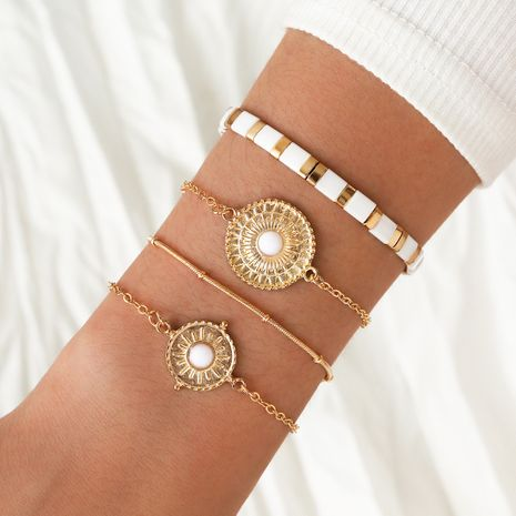 Fashion golden resin diamond sun flower clip bead chain white small square elastic bracelet 4 piece set NHPV257771's discount tags