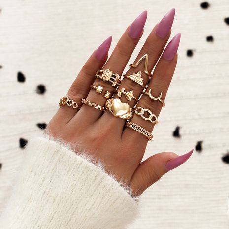 Hot selling fashion geometric ring tulip rose crown love moon ladies joint ring set of 11 NHPV257774's discount tags