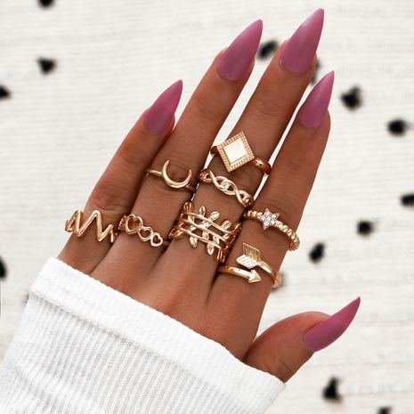 Hot selling fashion geometric ring ECG hollow heart star moon anchor square 8-piece ring NHPV257777's discount tags