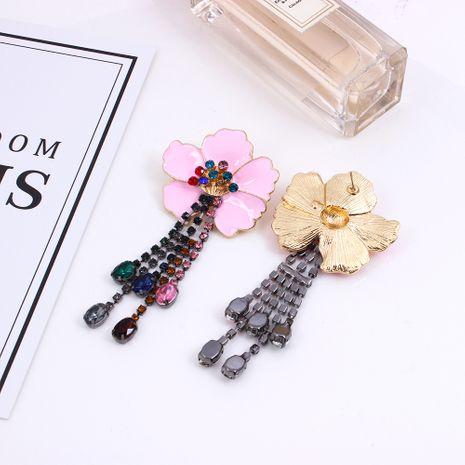 pendientes de borla de diamantes de flores de color NHMD257845's discount tags