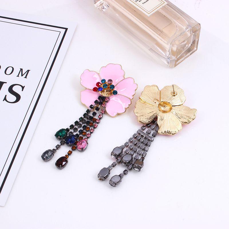 color flower  diamond tassel earrings NHMD257845