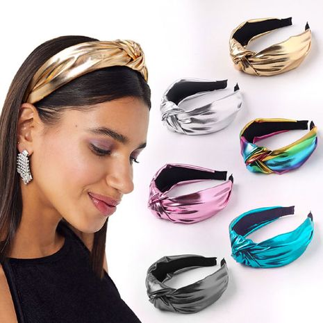fashion bright color PU simple middle knot headband  NHSC257843's discount tags