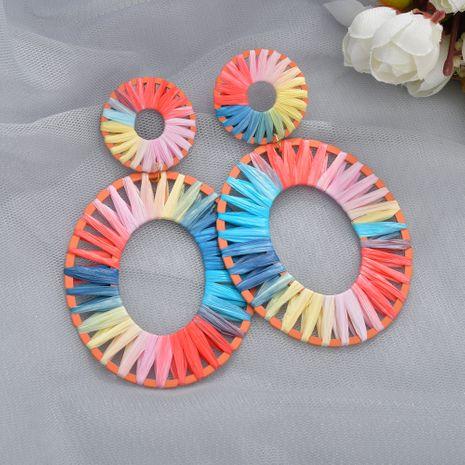 Mode Regenbogen bunte Bast Ohrringe NHBQ257836's discount tags