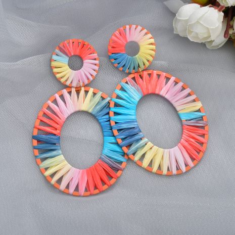 pendientes de rafia de colores de arco iris de moda NHBQ257836's discount tags