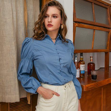 Fashion blue silk women's shirts wholesale NHDE257800's discount tags