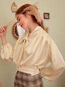 Fashionable white bowknot silk womens shirts wholesale  NHDE257801