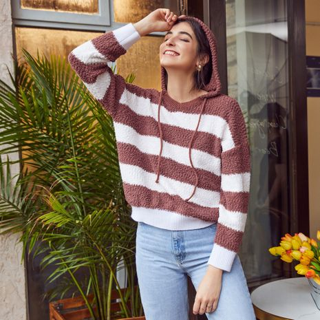 Fashion stripe lady's tops wholesale NHDE257802's discount tags