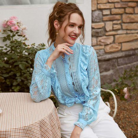 fashion blue chiffon lace blouse wholesale NHDE257803's discount tags